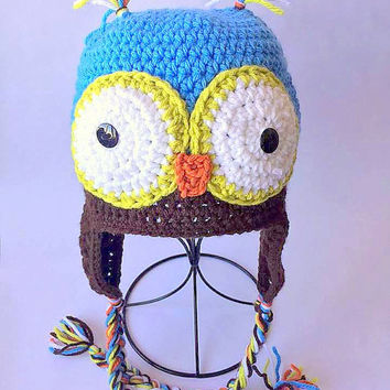 Owl Beanie, Crochet owl beanie, Crochet owl hat, Owl beanie photo prop, crochet photo prop, newborn owl beanie, Boys owl beanie, girls hat