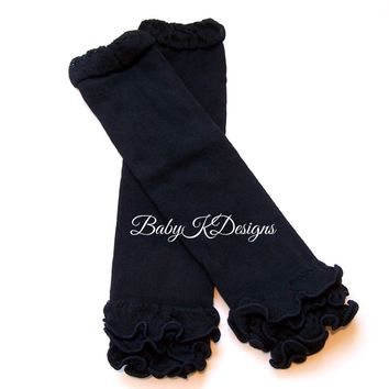 Solid Black Leg Warmers. Baby Legwarmers Girls Ruffle Footless Sock / Knit Legging Cheerleader Soccer Birthday Dance Ballet Teen Arm Warmer