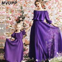 mother daughter dresses mommy and me family matching clothes look mom mum dress outfits clothing sister Children kids Girls 2018