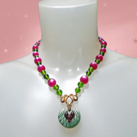 Retro 40s Look Necklace  - OOAK with Carved Bakelite Pendant - Vintage Lucite Moonglow MAGENTA Beads