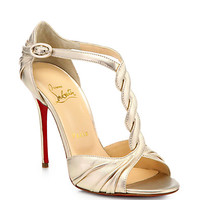Christian Louboutin- Jazzy Doll Metallic Leather Sandals