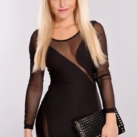 Black Mesh Cutout Party Dress