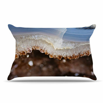 "Sylvia Cook ""Blue And Brown Quartz"" Nature Photography Pillow Case"