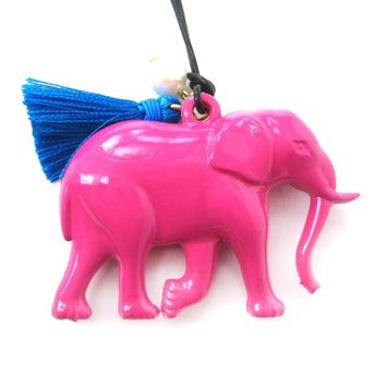 Large Colorful 3D Elephant Animal Pendant Necklace in Dark Pink | DOTOLY