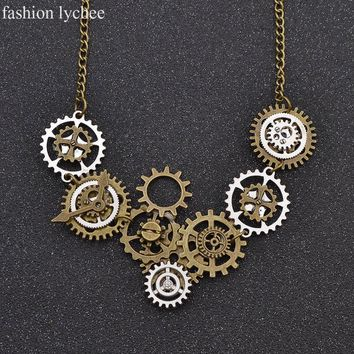 fashion lychee Clock Gear Pendant Necklace Round Pendant Silver Gold Chain Watch Clockwork Necklace for Women Men Jewelry