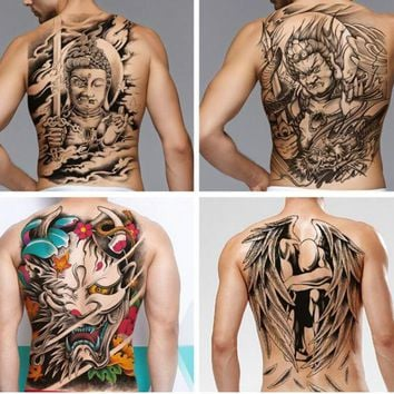 48*35cm Big size buddha ghost totem tattoo stickers men women waterproof full back body temporary tattoos RP2