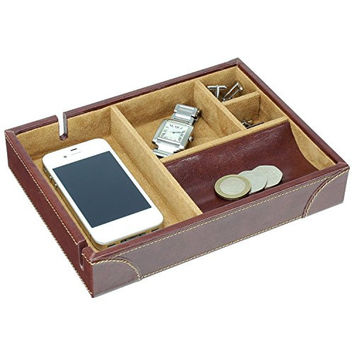Dulwich Designs | Mens Accessories | chestnut brown & tan heritage valet tray