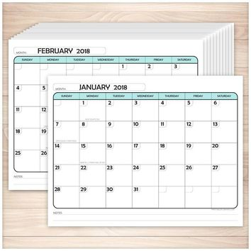 Modern Teal 2018 Calendar pages - Printable