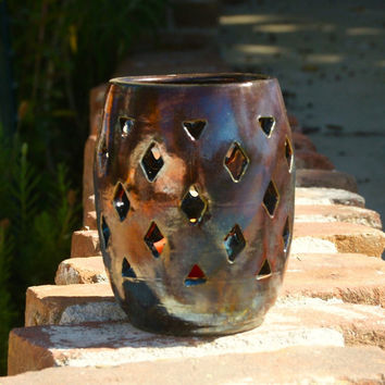Raku Luminary with Diamond Cutouts - hand thrown, stoneware pottery, candle holder, metalic copper glaze
