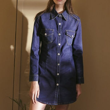Blue Denim Button Front Mini Dress