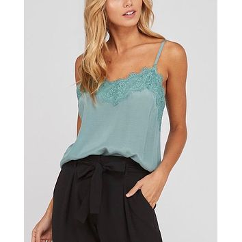 spaghetti strap lace detailed camisole - mint