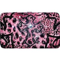 Animal Print Zebra Leopard Cross Flat Wallet Clutch Purse Pink (pink)