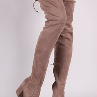 Bamboo Suede Drawstring Tie Block Heeled Over-The-Knee Boots