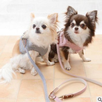 Trendy Pet Cat Harness Denim Harness for Dogs Stripe Harness Pet Vest Jacket For Small Puppy Dogs Teddy Poddle Chihuahua Yorkies Vest AT_94_13