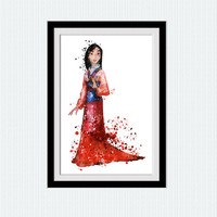 Mulan watercolor print Mulan art poster Disney princess decor Home decoration kids room wall art nursery room decor Disney art poster W661