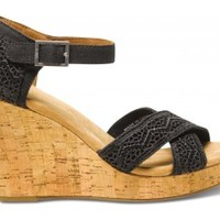 Black Crochet Women's Strappy Wedges