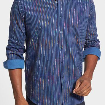 Men's Big & Tall Bugatchi Classic Fit Stripe Sport Shirt