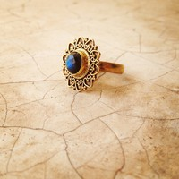 Brass Labradorite Ring, Indian Ring, Gold Ring, Adjustable Ring, Tribal Jewellery.