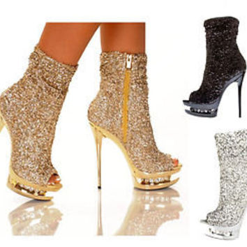 The Highest Heel DIAMOND-31 Rhinestone Sequin Ankle Bootie Open Toe