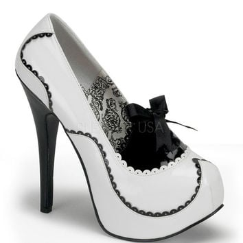 Bordello Teeze White & Black Patent Stilettos
