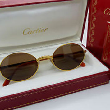 Vintage Cartier Sorbonne Sunglasses 1980's 53 []22 *Unisex Medium* 140 Stem