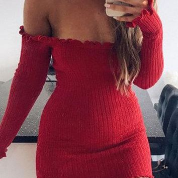 Red Frill Hem Off Shoulder Knitted Bodycon Dress
