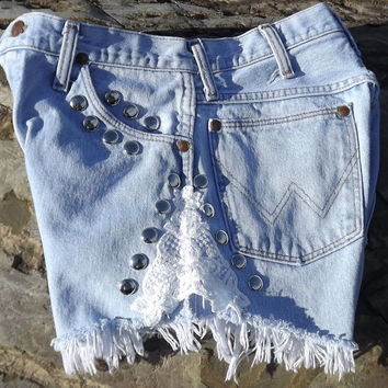 Lace Shorts Cut Offs Cutoffs Studdded High Waisted Blue by twazzy