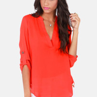 V-sionary Coral Red Top