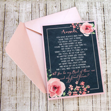Maid Of Honor Invitation, Will You Be My Bridesmaid Card, Asking Bridesmaid, Bridesmaid Invitation, Will You Be My Bridesmaid