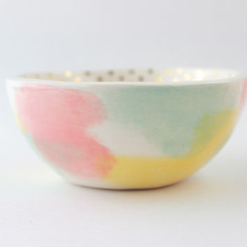Abstract Ceramic Bowl, Gold Polka Dot Bowl, Gold Home Decor