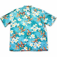 Heliconia Bliss Green Hawaiian Rayon Shirt