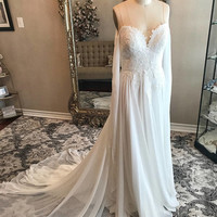 Unique chiffon and Lace Flowy wedding dress, light ivory wedding dress, unique sleeves