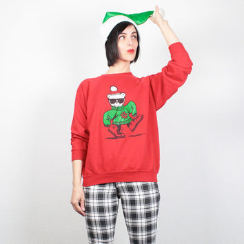 Vintage Ugly Christmas Sweater Tacky Christmas Sweater Ugly Xmas Sweater Hipster Bear Sweatshirt Red Pullover Jumper Tshirt Party S M Medium