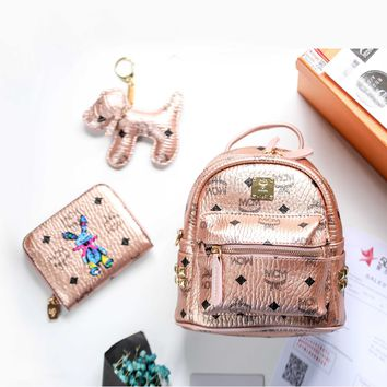 MCM Women Mini Bags With Wallet Keychain Suit Stark Side Studs Bebe Boo Backpack Cognac Soft Pink - Best Deal Online