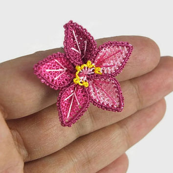 Ombre Pink Flower ring ,Boho Crochet Flower Ring, Adjustable Ring, Crochet  ring, Turkish Needlework Jewelry, Costume Jewelry