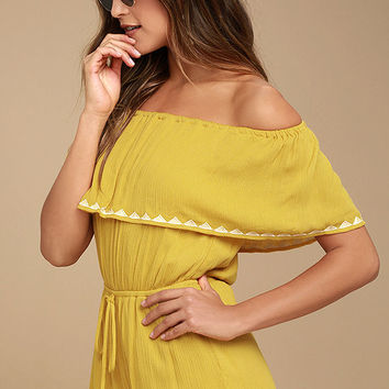 Oaxaca Mustard Yellow Embroidered Off-the-Shoulder Romper