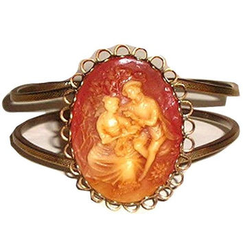 Vintage 50s WEDGWOOD Jasper Romantic Carved Cameo Bronze Hinged CUFF Bracelet Miriam Haskell Attributed - Unusual Caramel Color
