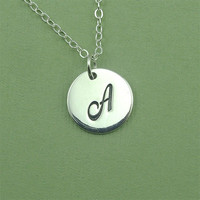 Personalized Initial necklace - sterling silver name letter charm necklace - gift