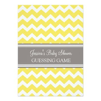 Yellow Gray Chevron Baby Shower Guessing Game 5x7 Paper Invitation Card