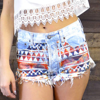 Ponte Aztec Print Cut Off Southwestern Denim Shorts