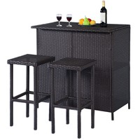 GOPLUS 3PCS Rattan Wicker Bar Set Patio Outdoor Table & 2 Stools Furniture Brown