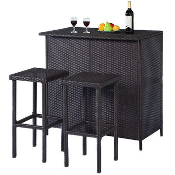 3PCS Rattan Wicker Bar Set Patio Outdoor Table & 2 Stools Furniture Brown
