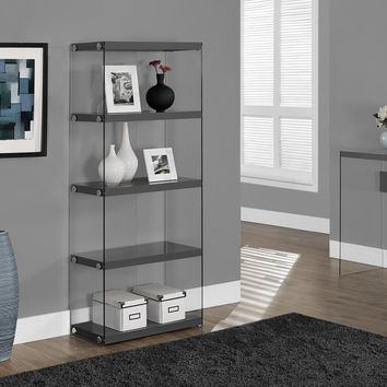 "Bookcase - 60""H - Glossy Grey With Tempered Glass"