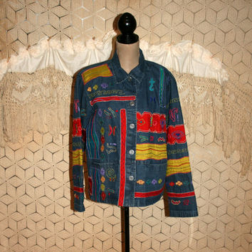 90s Denim Jacket Large Embroidered Applique Embellished Tribal Native American Southwestern Colorful 1990s Chicos Womens Vintage Clothing