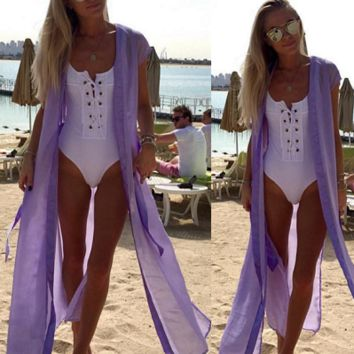 2 in 1: Lace Up Backless Bodysuit and Swimsuit