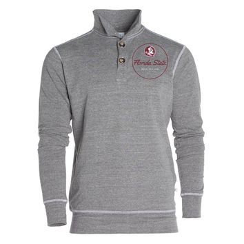 Official NCAA Florida State University Seminoles FSU Noles	Women's Boyfriend Fit Triblend 1/4 Button Pullover Full Sleeve O-Neck Durable Premium Sweatshirt