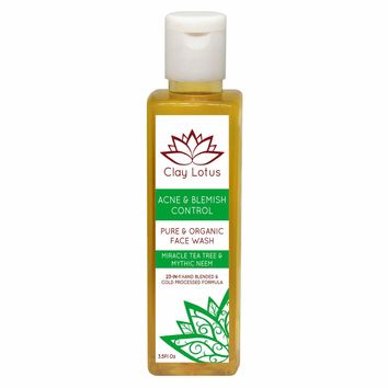Organic Face Wash for Acne & Oily Skin with Tea Tree & Neem