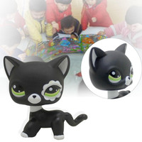 2016 new hotsale Rare Black Cat Blue Eyes Cute Kitten Littlest Pet Shop Toys Animals Kids Gift