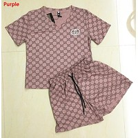 GUCCI Fashion New Embroidery Letter Print Sports Leisure Top And Shorts Two Piece Suit Purple
