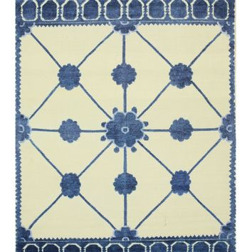 EORC Hand-knotted Bamboo Silk Ivory Transitional Lattice Lattice Rug